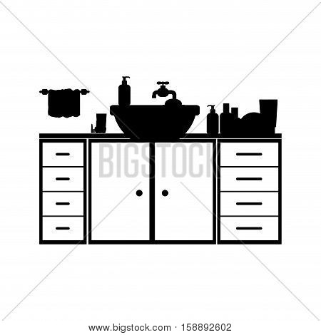 monochrome silhouette washstand with furniture vector illustration