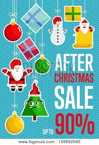 After Christmas sale concept with toys discount percents. Cute Santa, Christmas tree, snowman, toys, gift boxes hanging on ropes vector illustrations. For winter seasonal store sales promotions