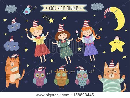 Good night isolated elements for your design with cute moon, clouds, fairies, owls and cat. Sweet dreams clipart collection. Vector illustration