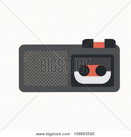 Dictaphone flat icon. Vector audio technology equipment silhouette illustration. Concept dictaphone electronic and recorder. Colorful dictaphone for your design. Flat audio technology equipment isolated.
