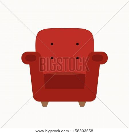 Vector armchair silhouette illustration. Colorful armchair icon for your design. Flat cartoon armchair isolated.