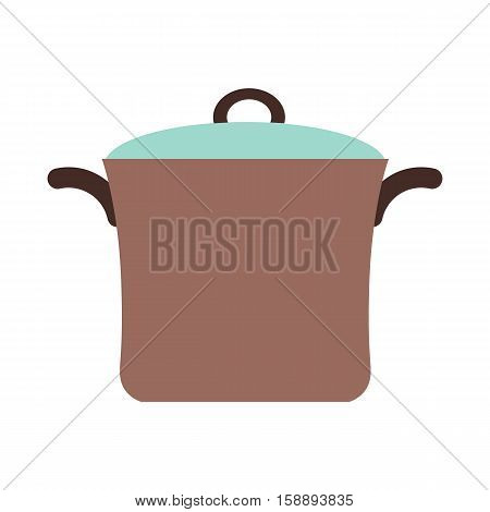 Vector colorful kitchen range with utensil. Kitchen interior house work cooking design elements pan, oven, kettle. Cooking food flat concept. Flat style kitchen range cooking food illustration.