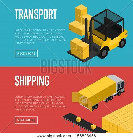 Transport and shipping isometric vector illustration. Forklift with packing boxes loading commercial cargo truck. Warehouse logistics, local cargo shipping and distribution, freight transportation