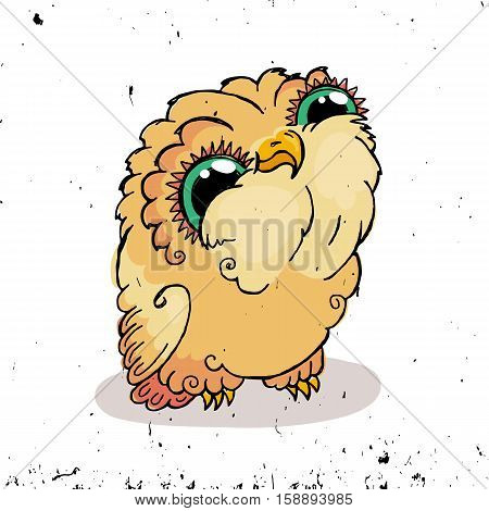Cute Owl Doodle Illustration. Grunge Kawaii Picture. Vector Owlet.