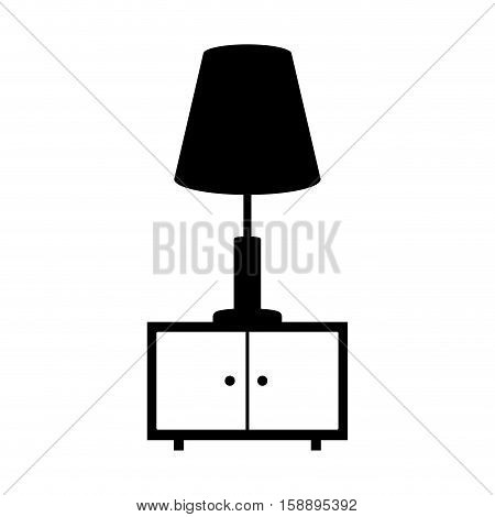 monochrome nightstand with lamp icon vector illustration