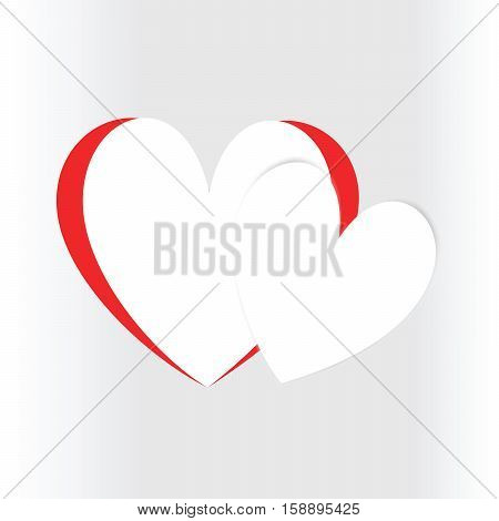 Two hearts on light gray background. Valentine's Day greeting card design