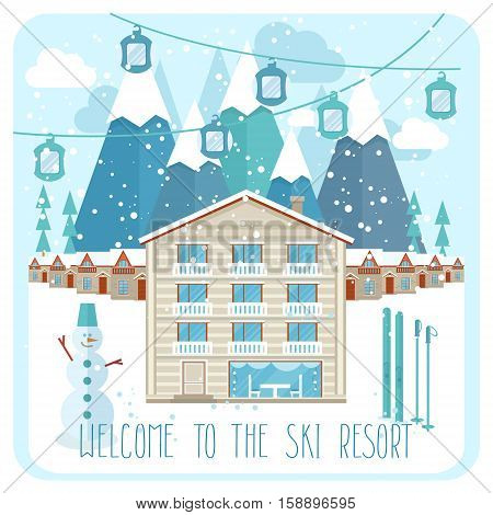 Welcome to the ski resort invitation vector illustration. Snow covered cottages of ski resort on background snowy mountain landscape. Family ski resort in mountains, winter time, snow and fun concept. Ski resort ads for travel agency.
