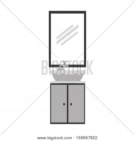 gray scale silhouette washstand with small furniture and mirror vector illustration