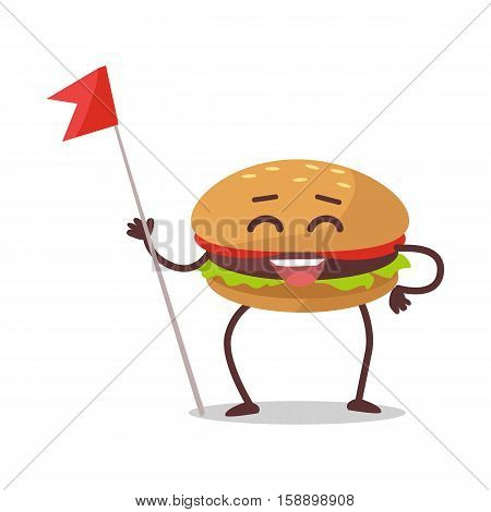 Happy hamburger cartoon character. Burger with meat, lettuce and tomato. Burger or sandwich, fast food. Burger mascot man. Meal and snack burger on white background. Cartoon fast food menu character