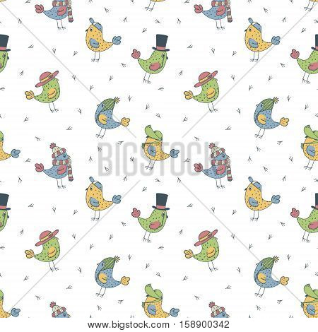 pattern of 6 color funny birds in different hats on a white background and bird footprints