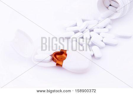 Spilled Pills And Pillbox