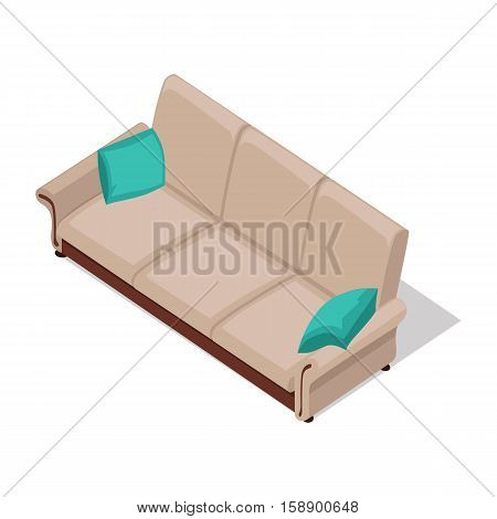 Sofa with pillows vector in isometric projection. Comfortable furniture illustration for stores advertising, icons, infographics, logo, web and games environment design. Isolated on white background