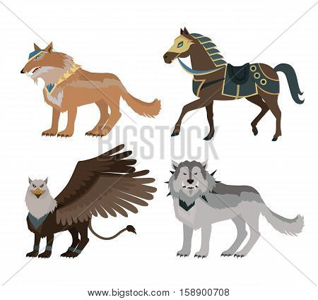 Fantastic battle riding animals vector in flat style design. Fairy predator beasts in armor model illustration for games industry concepts, icons and pictograms. Isolated on white background.