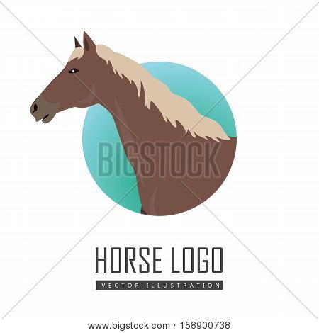 Sorrel horse with white mane vector logo. Flat design. Domestic animal. Country inhabitants concept. For farming, animal husbandry, horse sport illustrating. Agricultural species. Isolated on white