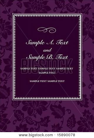 Vector purple floral frame with sample text. Perfect for 5x7 invitation or announcement. All pieces are separate. Easy to change colors.