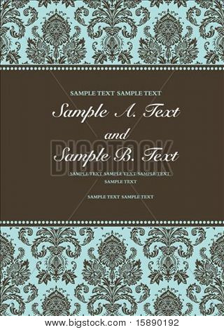 Vector damask frame with sample text. Perfect as invitation or announcement. Pattern is included as seamless swatch. All pieces are separate. Easy to change colors.