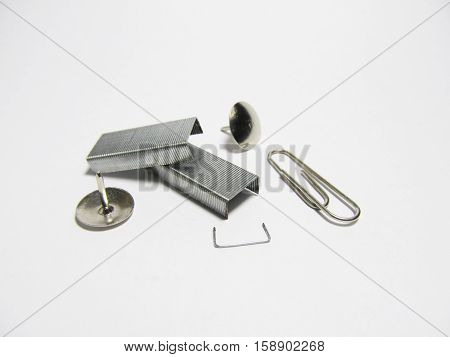 A set of stationery objects isolated on white background