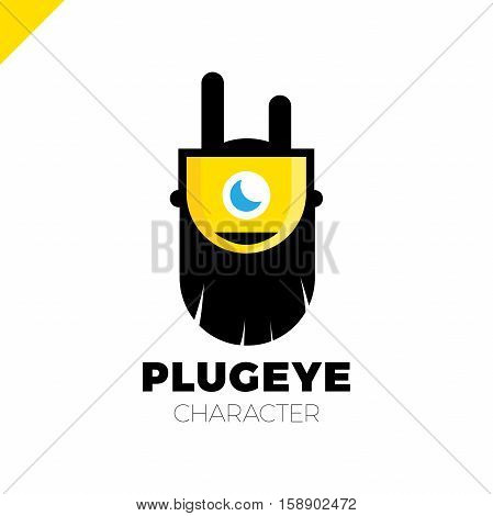 Cartoon Logo - Plug. Beard Cartoon Character
