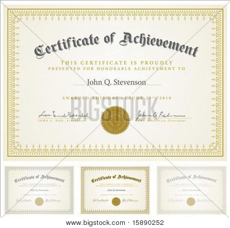Set of vector certificates with sample and outlined text. Perfect for any formal certificate. All pieces are separate. Easy to change colors and edit.