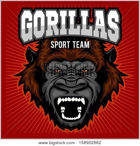 Mascot of gorilla head - sport team vector illustration on red.