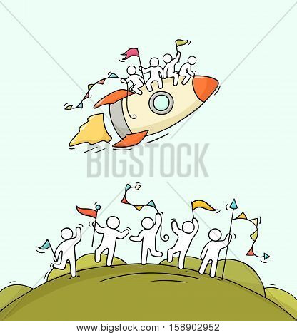 Cartoon happy little people with starting rocket. Doodle cute miniature scene of workers and spaceship. Hand drawn vector illustration.