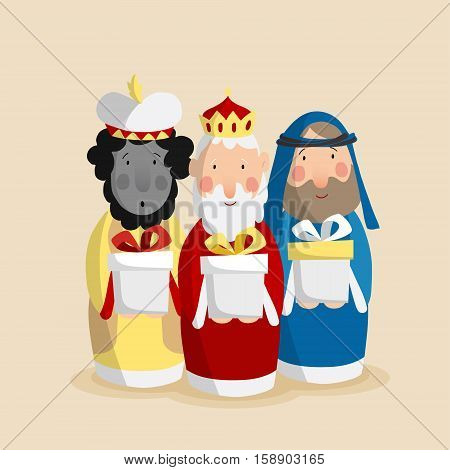Cute Christmas greeting card, invitation with three magi bringing gifts. Biblical kings Caspar, Melchior and Balthazar. Flat design, vector illustration background.