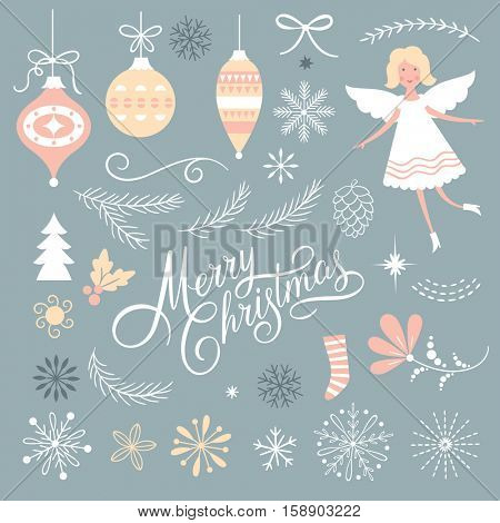 Set of Christmas graphic elements on a blue background, collection design elements