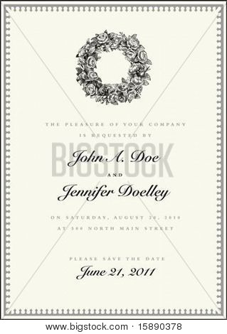 Vector wreath frame with sample text and borders. Perfect as invitation or announcement. All pieces are separate. Easy to change colors and edit.