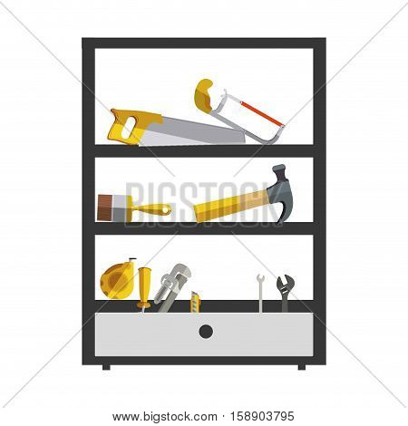 silhouette color with high rack tools box vector illustration