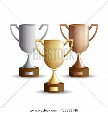 Vector set of trophy cups. Gold, silver and bronze winners cup isolated on a white background
