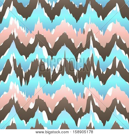 Ikat Geometric Seamless Pattern. Rose And Blue Colors Collection. Indonesian Textile Fabric Tie-dye