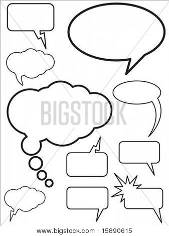 Set of vector speech and thought bubbles. Easy to edit. poster