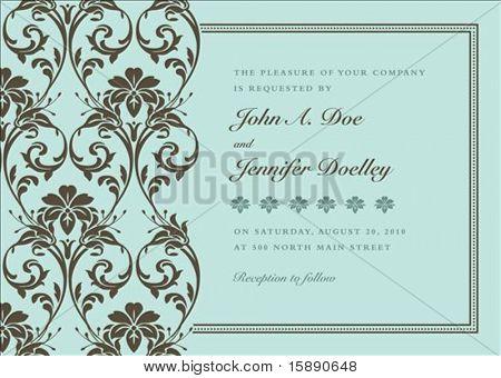 Floral background Vector et cadre avec l'échantillon de texte. Parfait comme une invitation ou d'une annonce. Modèle