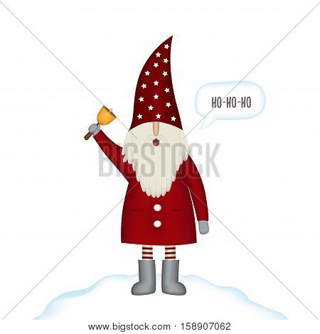 Nisse Santa Claus scandinavian folk style, nordic Christmas motive in red coat with bell isolated on white background, vector illustration