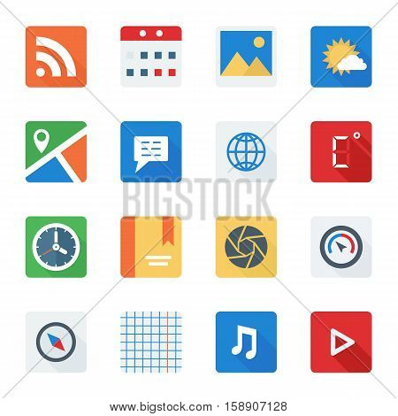 Basic Flat icon set for Web and Mobile Application. Vector illustration.