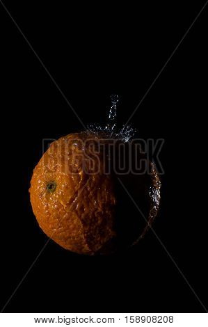 Orange and water splash fruit background splash cold drink citrus