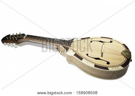 Contemporary mandolin. A traditional stringed instrument in the lute family. Shot against a white background with copy space.