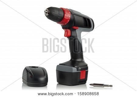 cordless screwdriver and charger on a white background