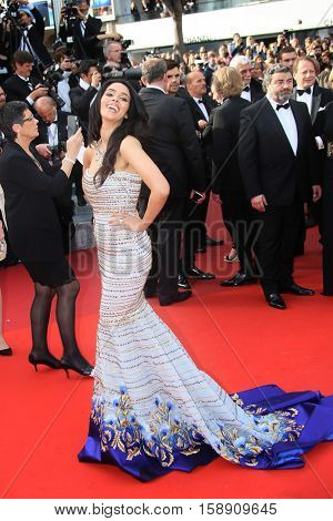 Mallika Sherawat attends the 'Cafe Society' premiere and the Opening Night Gala during the 69th Cannes Film Festival at the Palais des Festivals on May 11, 2016 in Cannes, France.