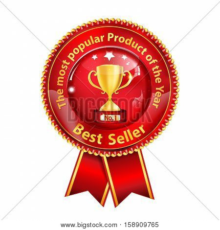 Best seller. The most popular product of the Year - award ribbon