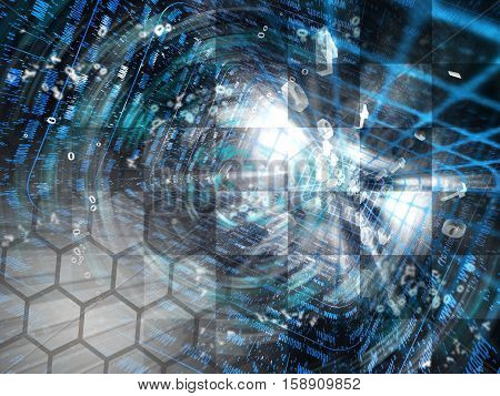 Computer background with digital tunnel and digits.