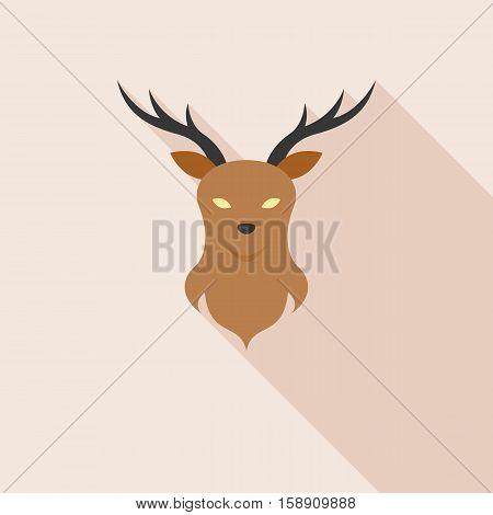 Deer head on wall icon with long shadow, flat design vector