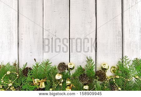 Composition With Decorated Christmas Tree On Rustic Wooden Background With Copy Space For Text. Chri