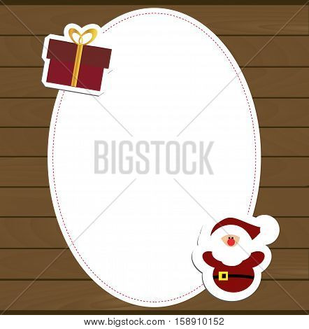 beautiful winter oval frame baby against the wall of wooden boards and stickers Santa gnome and a gift box. Template for photo frame or greeting card for new year or Christmas. Vector illustration