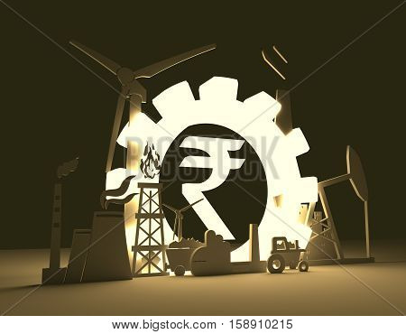 Energy and Power icons set on blueprint backdrop. Sustainable energy generation and heavy industry. 3D rendering. Luminous Rupee sign