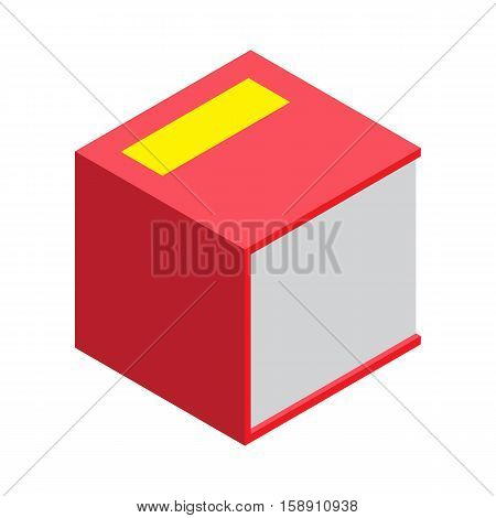 Isometric book icon vector illustration in flat design style isolated on white. Academic education symbol learning, reading, school sign. Knowledge science university library