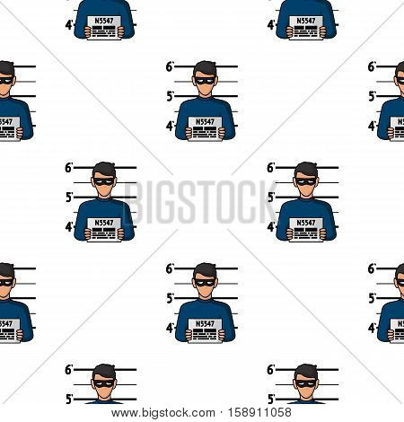 Prisoner's photography icon in pattern style isolated on white background. Crime symbol vector illustration.