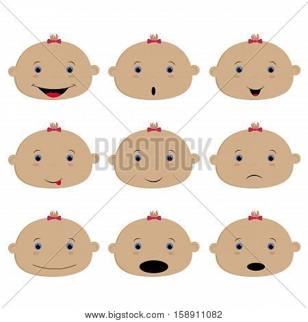set of colored emoticons baby girl. Smile surprise sadness laughter and happiness. Vector illustration