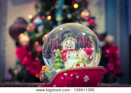 Christmas snow globe decorations and christmas tree background.