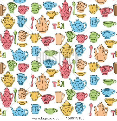 Cute tea collection tableware cup mug tea pot kettle doodles seamless vector pattern